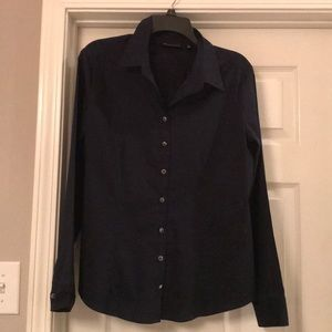 Navy Piped Madison Stretch Shirt